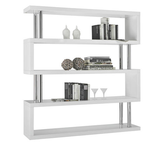 REGAL - bijela/boje kroma, Design, drvni materijal/metal (156/165/35cm) - Xora