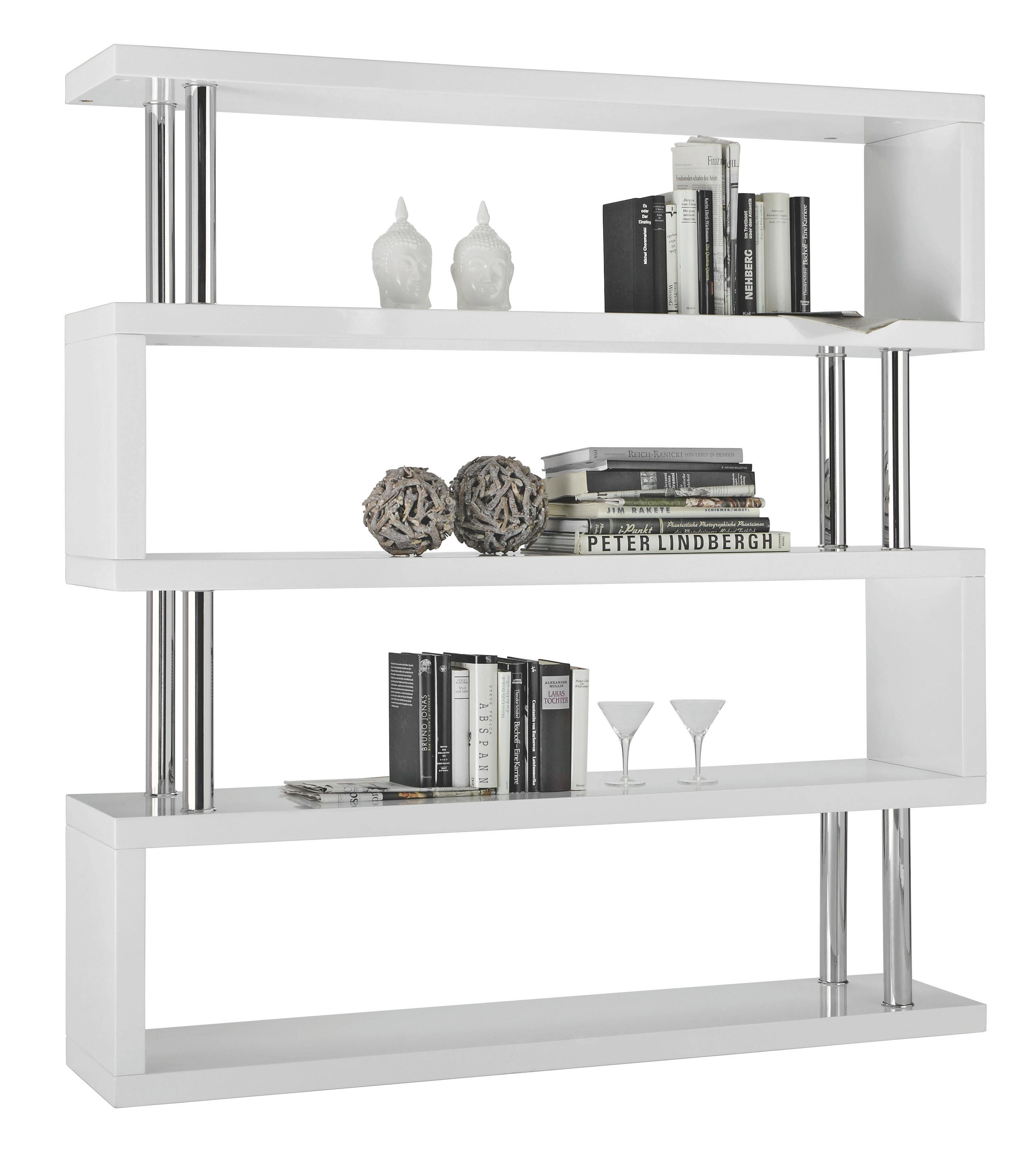 REGÁL - bílá/barvy chromu, Design, kov/dřevěný materiál (156/165/35cm) - CARRYHOME