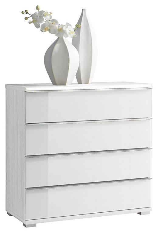 KOMMODE Weiß - Chromfarben/Weiß, Design, Glas/Kunststoff (120/80/40cm) - MODERANO