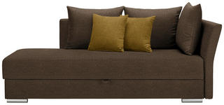 LIEGE in Textil Dunkelbraun, Dunkelgelb - Chromfarben/Dunkelbraun, Design, Kunststoff/Textil (220/93/100cm) - Xora