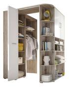 ROHOVÁ SKŘÍŇ - bílá/barvy dubu, Design, dřevěný materiál/umělá hmota (133-146/198cm) - CARRYHOME