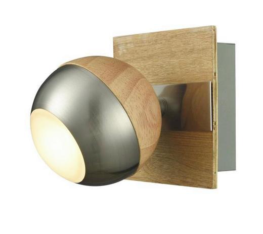 LED-STRAHLER - Chromfarben/Naturfarben, Design, Holz/Metall (10/12cm)