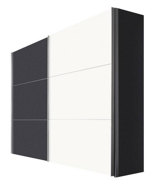 SCHWEBETÜRENSCHRANK 2-türig Graphitfarben, Weiß - Graphitfarben/Alufarben, KONVENTIONELL, Holzwerkstoff/Metall (250/216/68cm) - Hom`in