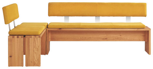 ECKBANK Wildeiche massiv Eichefarben, Gelb - Eichefarben/Gelb, Design, Holz/Textil (215/145cm) - Musterring