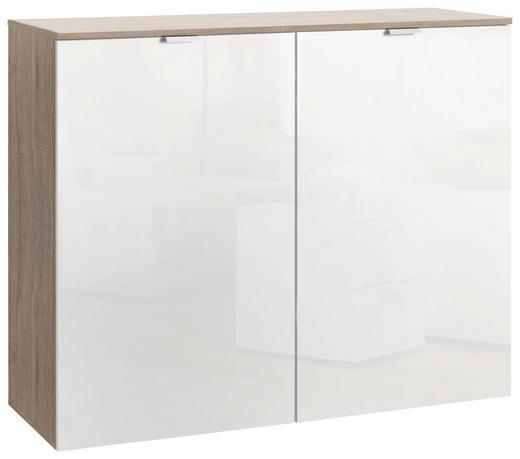 KOMMODE Eichefarben, Weiß - Eichefarben/Alufarben, Design, Holzwerkstoff/Metall (100/80/42cm) - Hom`in