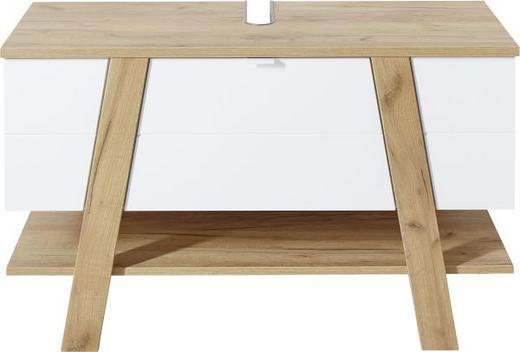 WASCHBECKENUNTERSCHRANK Eichefarben, Weiß - Eichefarben/Weiß, Design, Holzwerkstoff/Metall (110/67/46cm) - Xora