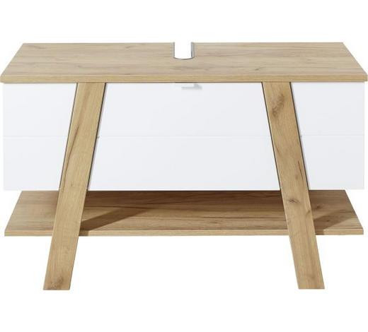 WASCHBECKENUNTERSCHRANK 110/67/46 cm - Eichefarben/Weiß, Design, Holzwerkstoff/Metall (110/67/46cm) - Xora