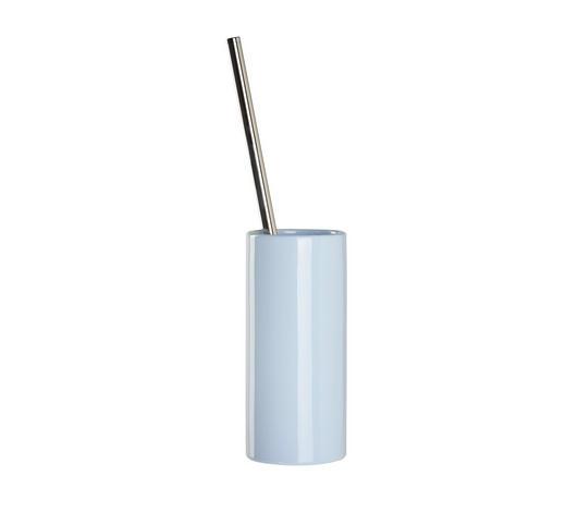 WC-BÜRSTENGARNITUR in Metall  - Chromfarben/Hellblau, Basics, Keramik/Kunststoff (8,5/38cm) - Sadena