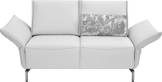 ZWEISITZER-SOFA in Leder Weiß - Weiß/Nickelfarben, Design, Leder/Metall (160/82-107/88-96cm) - Koinor