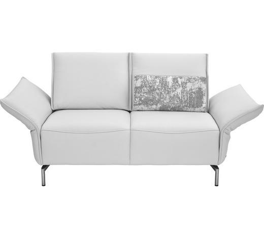 ZWEISITZER-SOFA Echtleder Weiß  - Weiß/Nickelfarben, Design, Leder/Metall (160/82-107/88-96cm) - Koinor