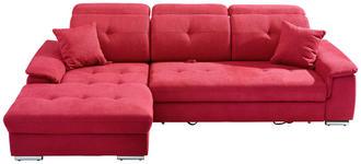 WOHNLANDSCHAFT in Textil Rot - Silberfarben/Rot, Design, Textil/Metall (187/279cm) - Cantus