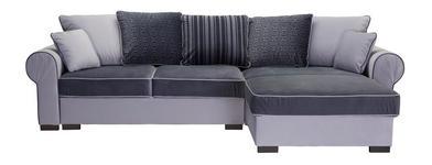 WOHNLANDSCHAFT in Textil Hellgrau, Weiß - Hellgrau/Braun, ROMANTIK / LANDHAUS, Kunststoff/Textil (310/193cm) - Hom`in