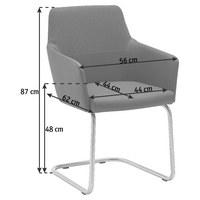 Armlehnstuhl in Anthrazit, Dunkelbraun, Edelstahlfarben - Edelstahlfarben/Anthrazit, Design, Textil/Metall (56/87/62cm) - Venjakob