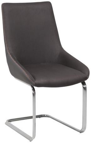 SVIKTSTOL - mörkgrå/rostfritt stål-färgad, Design, metall/textil (52,5/93/63,5cm) - Novel