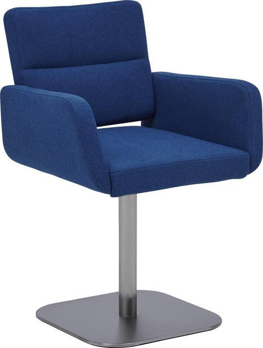 STUHL Flachgewebe Blau, Edelstahlfarben - Blau/Edelstahlfarben, Design, Textil/Metall (55/84/56cm) - Dieter Knoll