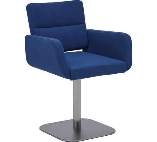 STUHL in Metall, Textil Blau, Edelstahlfarben - Blau/Edelstahlfarben, Design, Textil/Metall (55/84/56cm) - Dieter Knoll