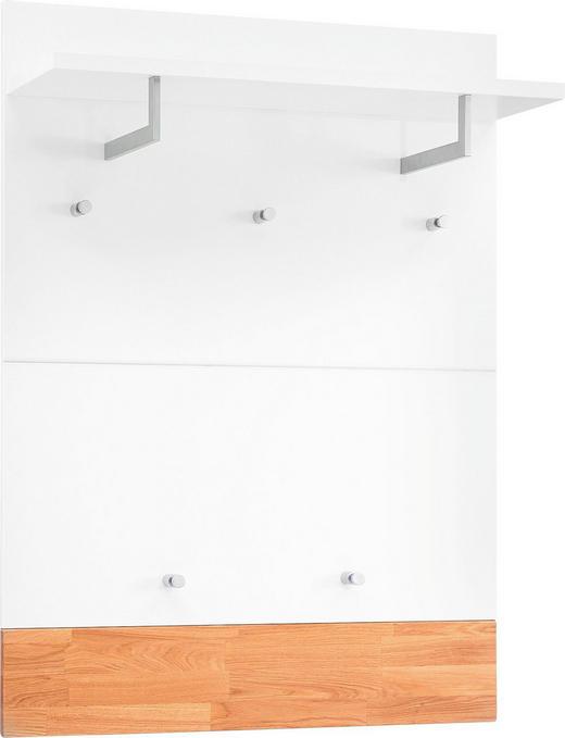 GARDEROBENPANEEL Eiche massiv gebürstet, lackiert, matt Eichefarben, Weiß - Eichefarben/Weiß, Design, Holz (80/109/27cm)