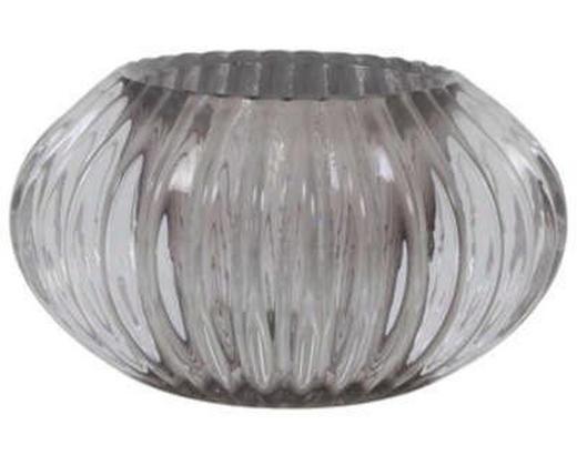 TEELICHTHALTER - Grau, Design, Glas (11/6,5cm)
