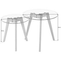SADA ODKLÁDACÍCH STOLKŮ - barvy dubu/čiré, Design, dřevo/sklo (50/40/50/40/45/40cm) - Carryhome