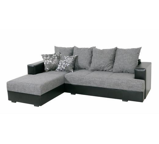 SEDEŽNA GARNITURA,  siva, črna tekstil  - siva/črna, Design, tekstil (245/165cm) - Boxxx