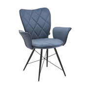 ARMLEHNSTUHL in Blau, Grau, Schwarz  - Blau/Schwarz, Design, Textil/Metall (57,5/89,5/61cm) - Hom`in
