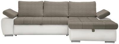WOHNLANDSCHAFT in Textil Hellbraun, Weiß - Hellbraun/Weiß, Design, Kunststoff/Textil (271/175cm) - Xora
