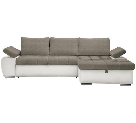 WOHNLANDSCHAFT in Textil Weiß, Hellbraun - Hellbraun/Weiß, Design, Kunststoff/Textil (271/175cm) - Xora