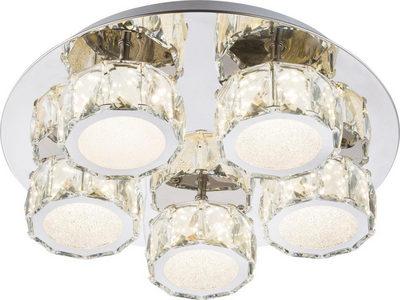 LED-TAKLAMPA - kromfärg, Design, metall/glas (40cm)