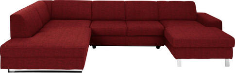 WOHNLANDSCHAFT Rot Webstoff  - Chromfarben/Rot, Design, Textil/Metall (198/350/157cm) - Venda
