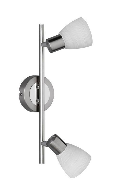 LED-STRAHLER - Weiß/Nickelfarben, KONVENTIONELL, Glas/Metall (34/18/9cm)
