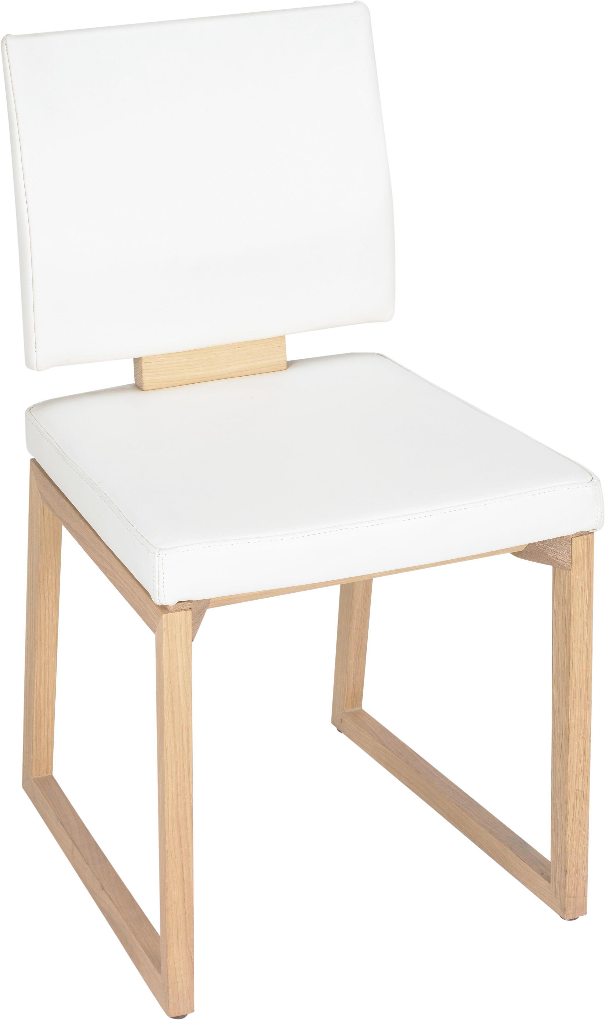 STUHL Echtleder Wildeiche Beige, Eichefarben - Eichefarben/Beige, Design, Leder/Holz (47/86/53cm) - VOGLAUER