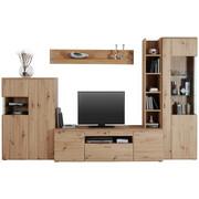OBÝVACÍ STĚNA, barvy dubu - barvy stříbra/barvy dubu, Konvenční, kov/kompozitní dřevo (330/205/51cm) - Cantus