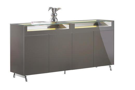 VITRINE Braun - Alufarben/Braun, Design, Holzwerkstoff/Metall (202/95/46cm) - Joop!