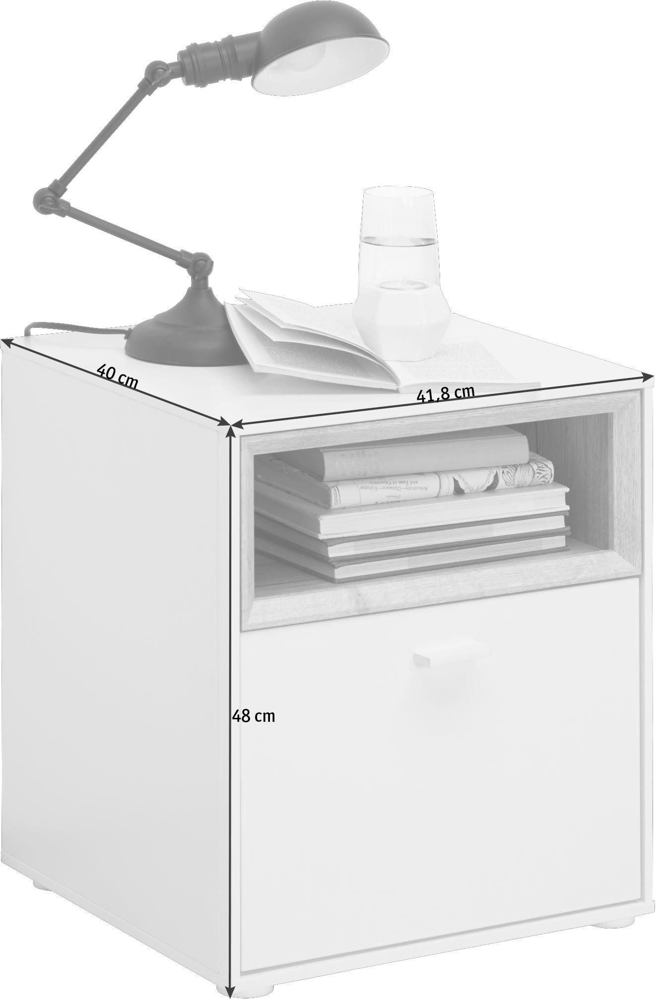 SÄNGBORD - vit/ekfärgad, Design, träbaserade material/plast (41,8/48/40cm) - Hom`in