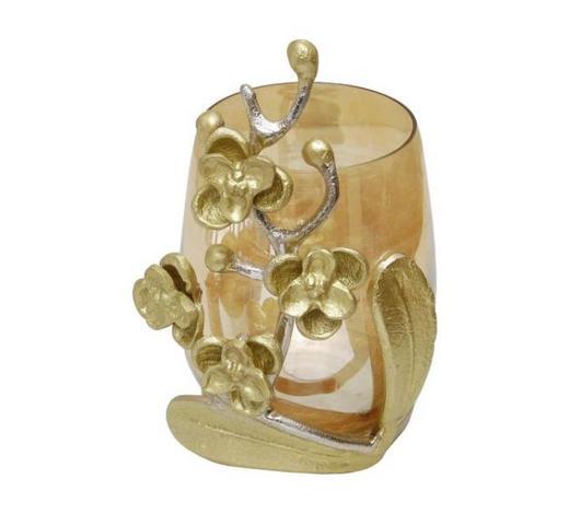 TEELICHTHALTER - Silberfarben/Goldfarben, KONVENTIONELL, Glas/Metall (39/34,5/23cm) - Ambia Home