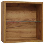 BADEZIMMERREGAL 45/45/18,8 cm  - Eichefarben, Design, Glas/Holzwerkstoff (45/45/18,8cm) - Dieter Knoll