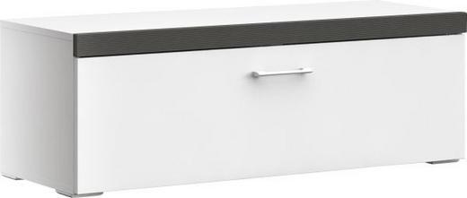 LOWBOARD geschroppt, tiefgezogen Graphitfarben, Weiß - Chromfarben/Graphitfarben, MODERN, Kunststoff/Metall (105/36,5/40cm) - XORA