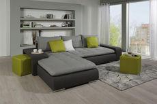 SEDEŽNA GARNITURA,  siva, temno siva tekstil  - temno siva/siva, Moderno, umetna masa/tekstil (194/283/80cm) - Xora