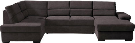 WOHNLANDSCHAFT in Textil Braun - Dunkelbraun/Braun, KONVENTIONELL, Kunststoff/Textil (183/319/166cm) - Cantus