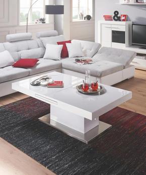 SOFFBORD - vit/rostfritt stål-färgad, Design, metall/träbaserade material (133/170/47,5/75/80cm) - Premium Living