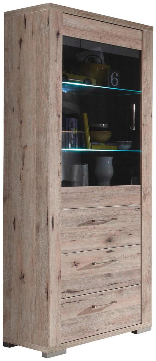 VITRINE Eichefarben - Edelstahlfarben/Eichefarben, Design, Glas/Kunststoff (76/199/45cm) - Carryhome