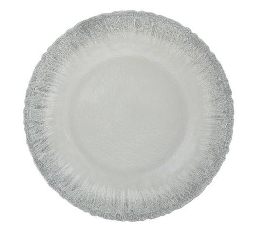 DEKOTELLER - Silberfarben/Weiß, Trend, Glas (21,5/2cm) - Ambia Home