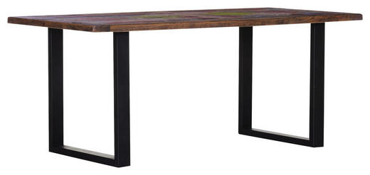 ESSTISCH Mangoholz massiv rechteckig Multicolor, Naturfarben - Multicolor/Schwarz, Trend, Holz/Metall (180/90/77cm) - Carryhome