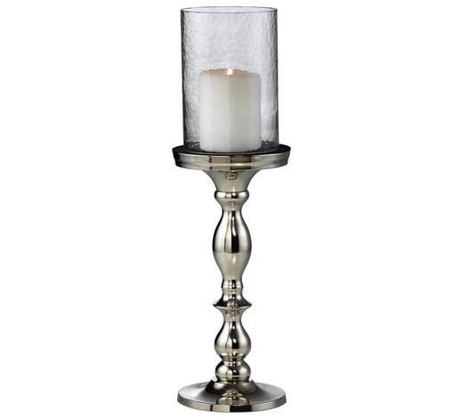 KERZENHALTER - Transparent/Alufarben, Basics, Glas/Metall (12,5/34cm) - Ambia Home