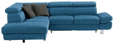 WOHNLANDSCHAFT in Textil Petrol - Chromfarben/Anthrazit, Design, Textil/Metall (229/270cm) - Xora