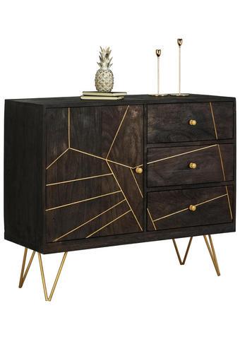 KOMMODE Akazie massiv lackiert, gebeizt, sandgestrahlt Schwarz, Goldfarben  - Goldfarben/Schwarz, Trend, Holz/Metall (105/88/43cm) - Ambia Home