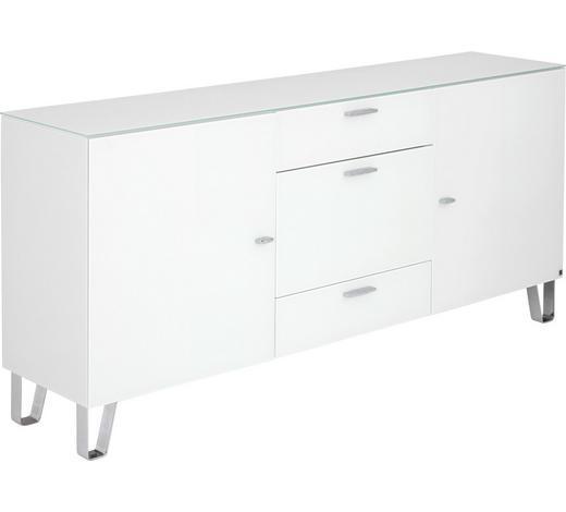 SIDEBOARD 189/86/42 cm - Chromfarben/Weiß, Design, Glas/Holzwerkstoff (189/86/42cm) - Leonardo