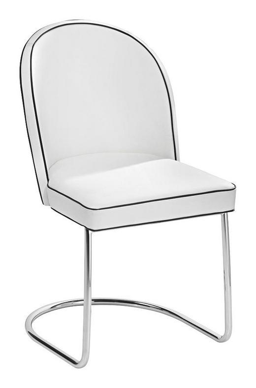 SCHWINGSTUHL Echtleder Chromfarben, Weiß - Chromfarben/Weiß, Design, Leder/Metall (51/86/57cm)