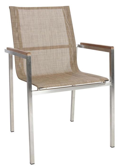 STOL  tikovina nerjaveče jeklo bež, rjava - bež/rjava, Design, kovina/tekstil (56/87/56cm) - Ambia Garden