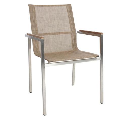 STOL  tikovina nerjaveče jeklo rjava, bež - bež/rjava, Design, kovina/tekstil (56/87/56cm) - Ambia Garden